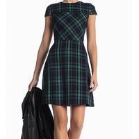 Vince Camuto Green Women's Size 10 Plaid Print Sheath Dress