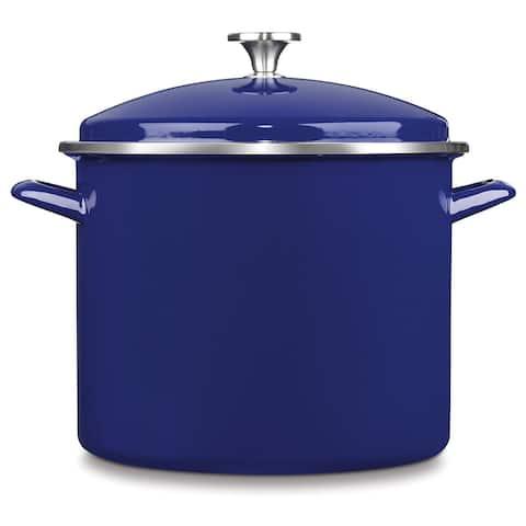 Cuisinart EOS126-28CBL Chef's Classic Enamel on Steel Stockpot with Cover, 12-Quart, Cobalt Blue
