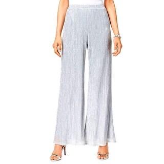 MSK NEW Silver Womens Size XXL Plus Stretch Metallic Knit Palazzo Pants