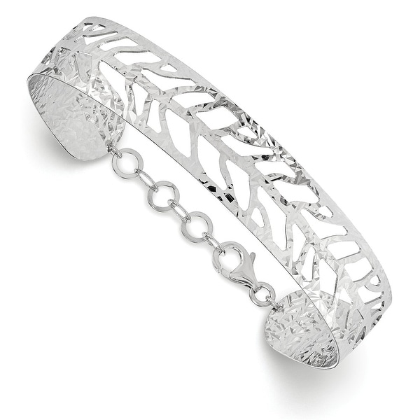 Italian Sterling Silver Rhodium-plated Plated Fancy Bangle