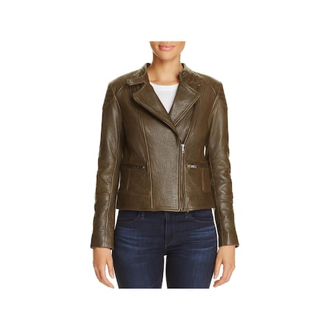 Cupcakes and Cashmere Womens Chaney Motorcycle Jacket Leather Asymmetric Zip - Army - XS