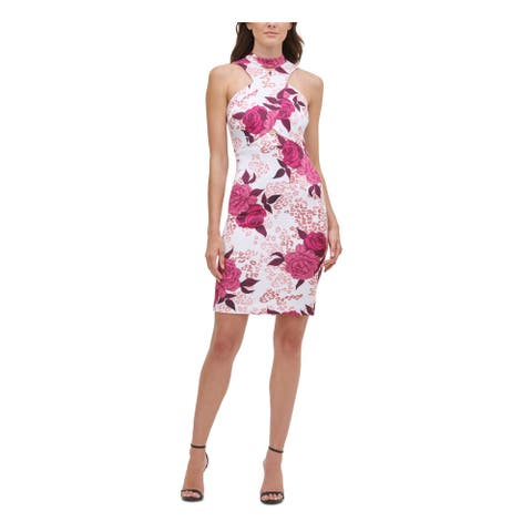 GUESS Womens Pink Floral Sleeveless Short Sheath Party Dress Size 16