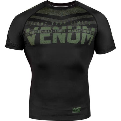 Venum Signature Short Sleeve Compression Rashguard - Black/Khaki