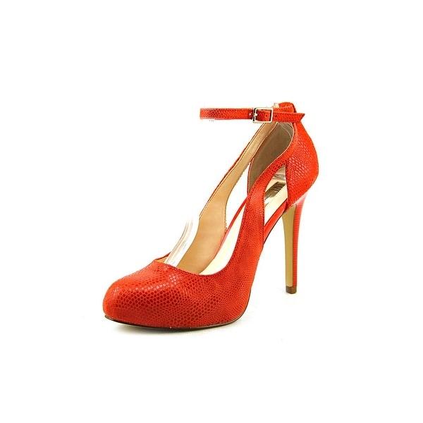 INC International Concepts Lucey Women W Open Toe Leather Orange Platform Heel