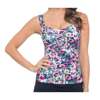 Profile by Gottex NEW White Womens Size 34D Tankini Top Floral Swimwear