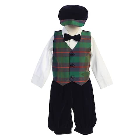 Lito Toddler Boys Green Black Plaid Velvet 5pc Knickers Christmas Outfit