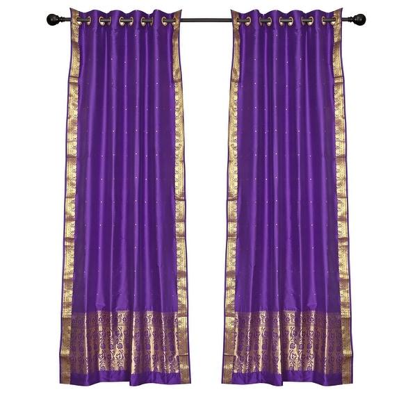 2 Boho Purple Indian Sari Curtains Ring Top Window Panels Drapes. Opens flyout.
