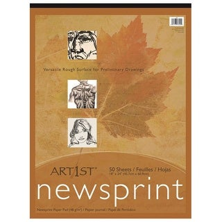 Art1st Newsprint Pad, 32 lbs, 18 x 24 Inches, White