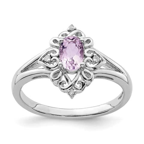 Sterling Silver Rhodium-plated Pink Quartz Diamond Ring by Versil
