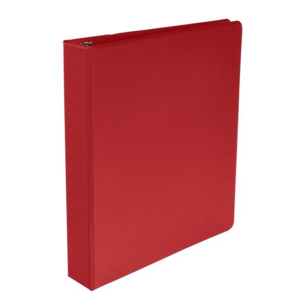 shop school smart polypropylene round ring binder 1 1 2 inch red