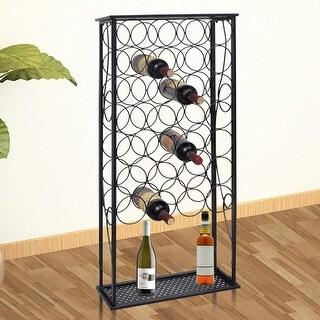 Metal Wine Rack Stand for 28 Bottles Holder w/ Plate Display Storage Home Bar