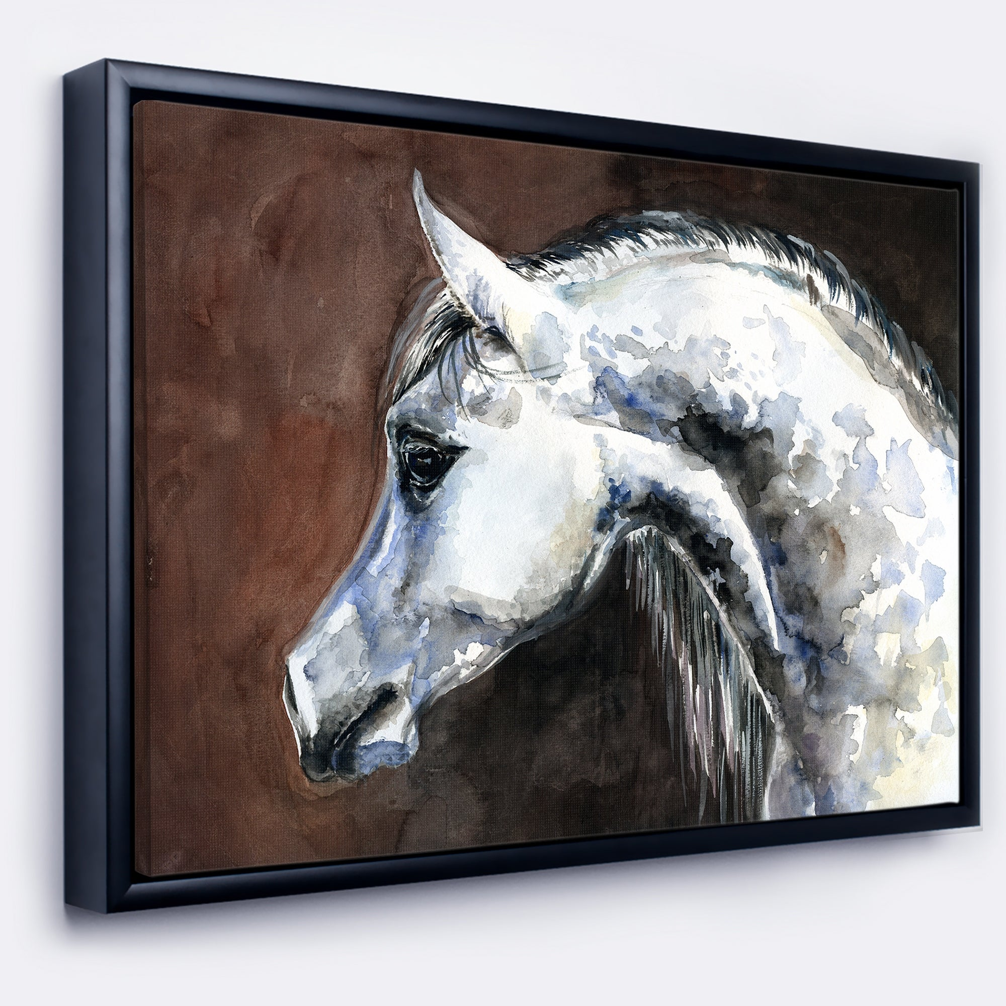 Designart Gray Arabian Horse Watercolor Abstract Framed Canvas Art Print Overstock 18945628