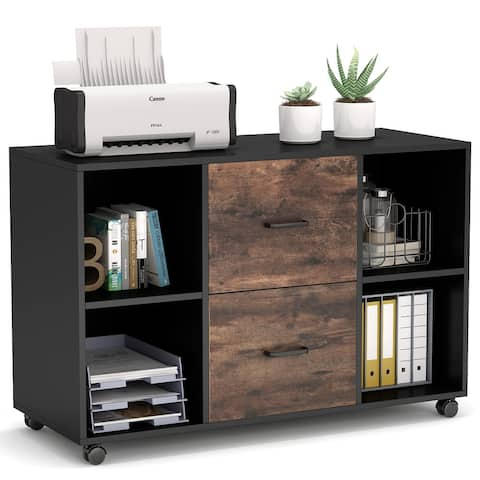 2 Drawer Lateral File Cabinet, Mobile Filing Cabinet Printer Stand
