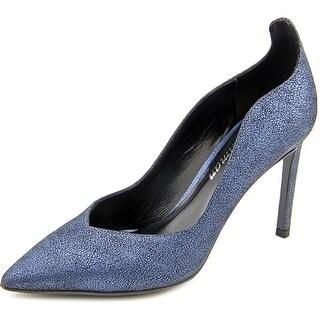 Delman Brie Women Pointed Toe Suede Blue Heels