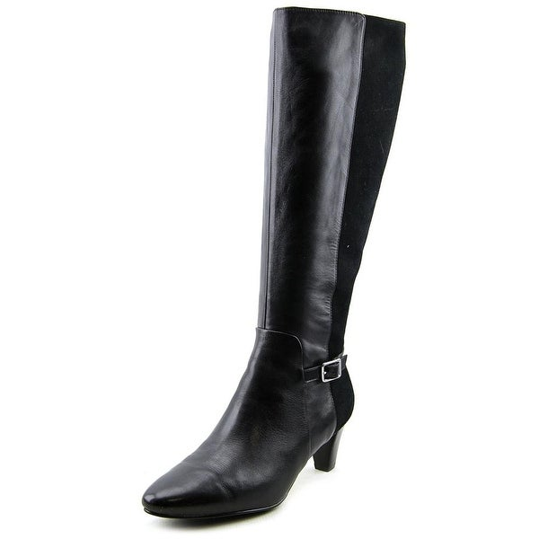 Cole Haan Sylvan Boot Women Pointed Toe Leather Black Knee High Boot