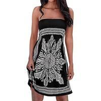 Women's Strapleess Floral Print Bohemian Beach Dress Cover-Up Dress