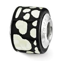 Sterling Silver Reflections Black/White MOP Hearts Mosaic Bead