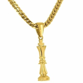 Designer Mens Chess Piece King Pendant 18K Yellow Gold Tone Free Stainless Steel Franco 24 Inch