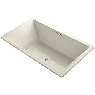 """Kohler K-1137 Underscore Collection 72"""" Drop In Acrylic Bath Tub With Molded Lumbar Support and Center Drain"""