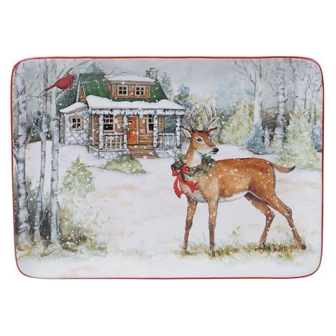 Certified International Winter Forest Rectangular Platter