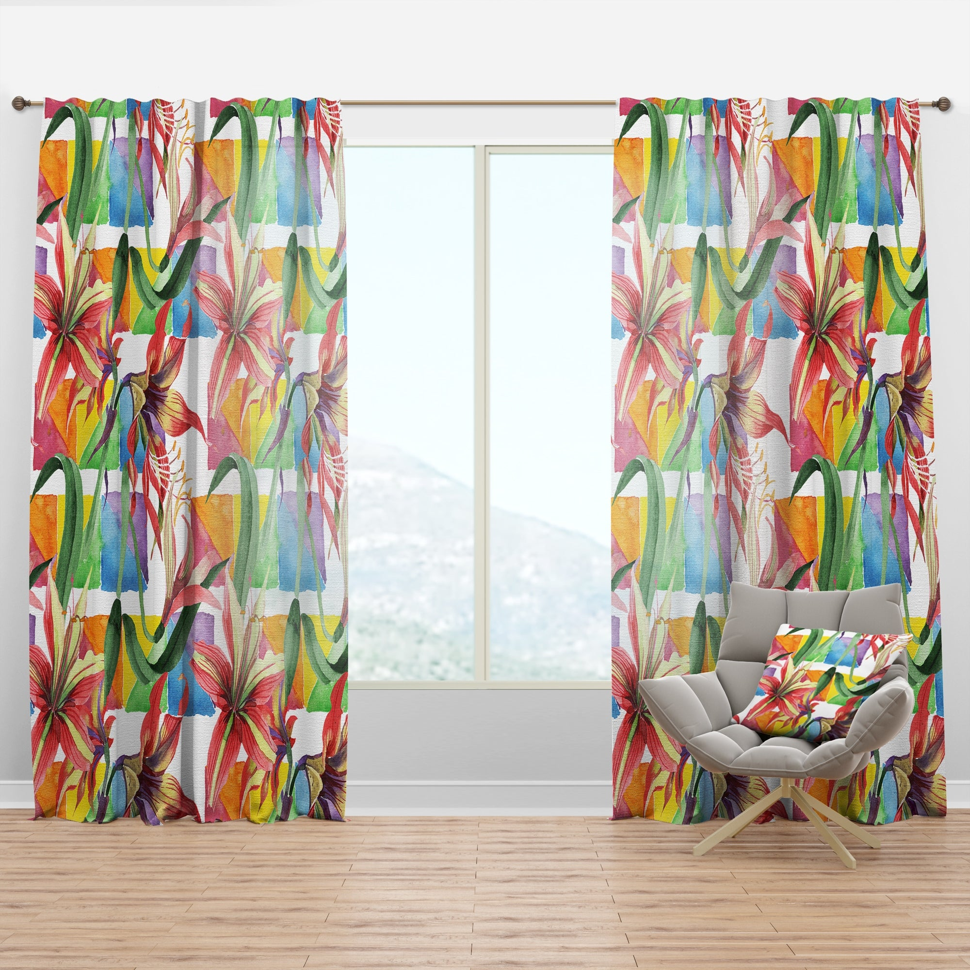 Designart Retro Floral Botanical I Mid Century Modern Curtain Panel On Sale Overstock 29625909