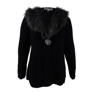 Jm Collection Women's Plus Size Faux-Fur-Trim Cardigan - Deep Black