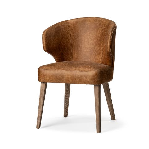 Mercana Niles Wingback Brown Toned Leather Brown Wooden Base Dining Chair