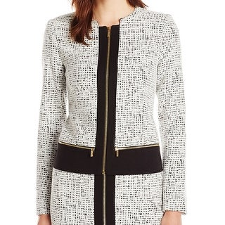 Calvin Klein NEW Black Womens 12 Zip-Front Textured Colorblock Blazer