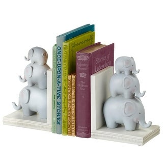"""10.25"""" Gray and White Stacked Elephant Decorative Medium Bookend Pair"""