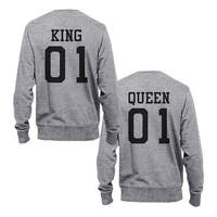 King 01 And Queen 01 Couple Sweatshirts Cute Matching Sweat Shirts