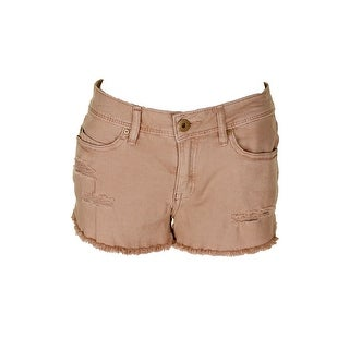American Rag Juniors Brown Ripped Rah Hem Denim Shorts 3
