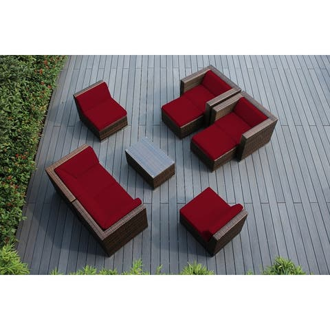 Ohana Outdoor Patio 9 Pc Mixed Brown Wicker Seating Set with Cushions