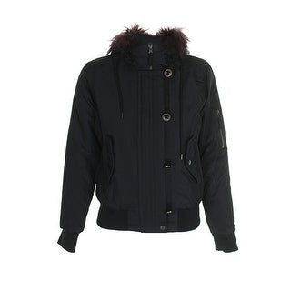 American Rag Juniors Black Burgundy Faux-Fur-Trim Rib Hem Puffer Bomber Jacket M