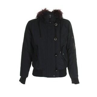 American Rag Juniors Black Burgundy Faux-Fur-Trim Rib Hem Puffer Bomber Jacket S