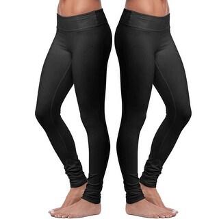 Women's Cotton Stretch Black Leggings - 2 Pack - Full Length - Soft Slim Fit