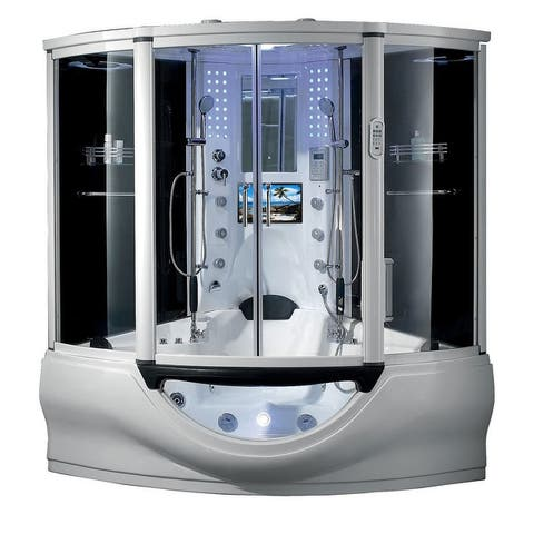 SUPERIOR Steam Shower Sauna with Heated Jetted Whirlpool Massage Bathtub Spa Tub with Telephone, Smart TV, Bluetooth