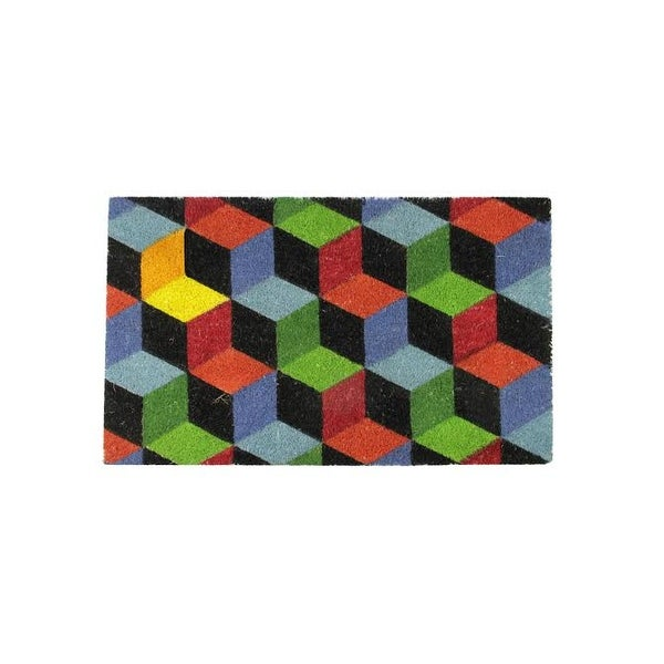 "Decorative Multi-Color Cube Coir Outdoor Rectangular Door Mat 29.5"" x 18"""