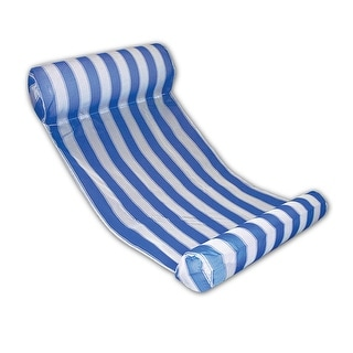 "51.75"" Blue and White Striped Water Hammock Swimming Pool Lounger"
