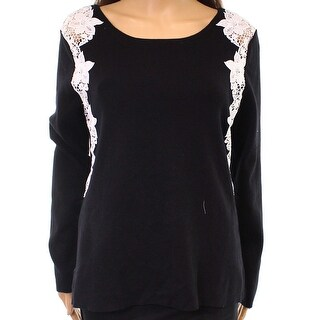 INC NEW Black Women's Size XL Boat-Neck Lace Trim Knitted Sweater