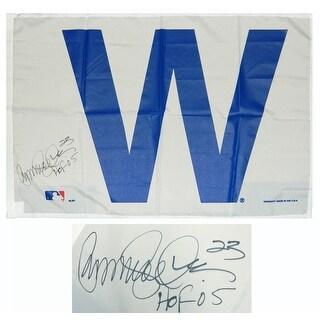 Ryne Sandberg Chicago Cubs 27x37 White W Flag WHOF05