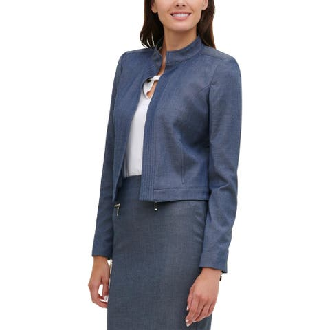 Tommy Hilfiger Womens Open-Front Blazer Chambray Collar - Navy Multi