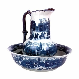 Chamber Pot Set Delft Blue Ceramic Chamber Pot and Pitcher
