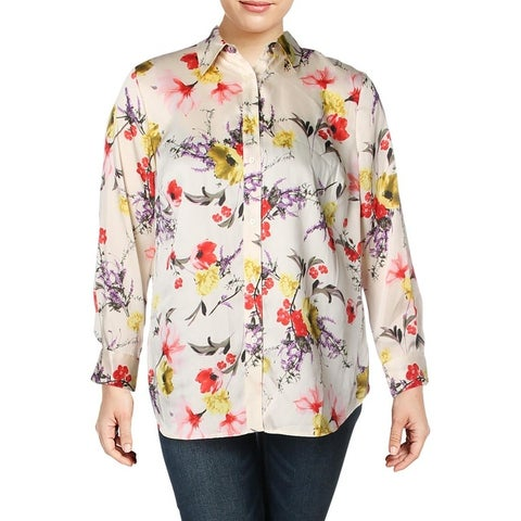 Lauren Ralph Lauren Womens Plus Button-Down Top Sateen Floral Print