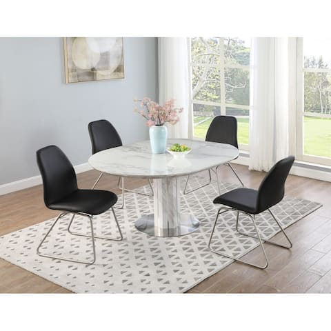 Somette Amy Marbleized Ceramic Dining Set with Black Chairs