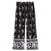 Women's Leaves & Flowers Lounge Pants -Pajama Bottoms Black & White