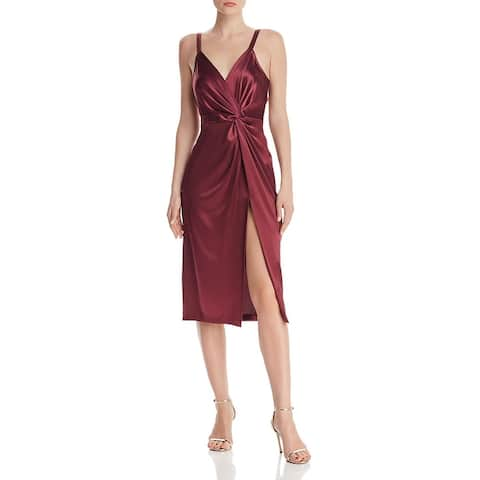 JILL Jill Stuart Womens Slip Dress Satin Twist-Front