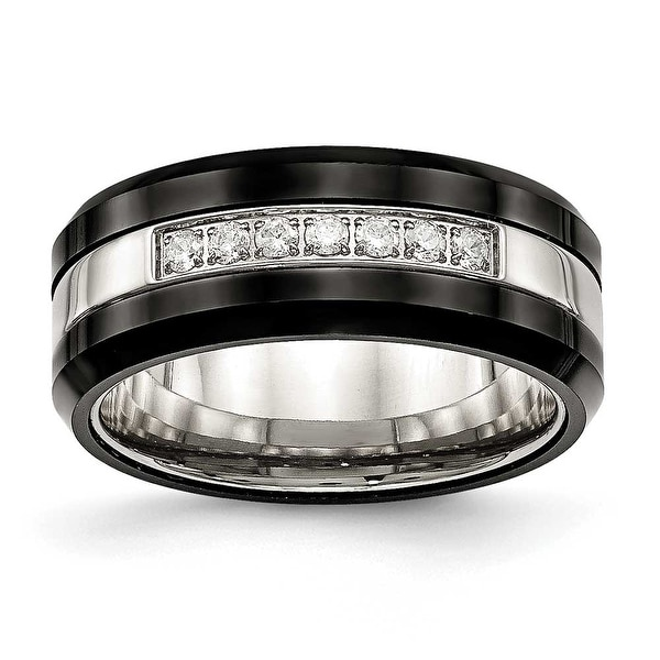 Stainless Steel Polished Black Ceramic CZ Beveled Edge Ring (8 mm) - Sizes 6 - 13