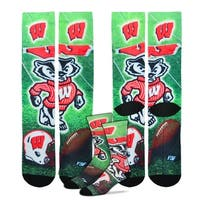 Wisconsin Badgers College Mascot Sublimated Socks, Large