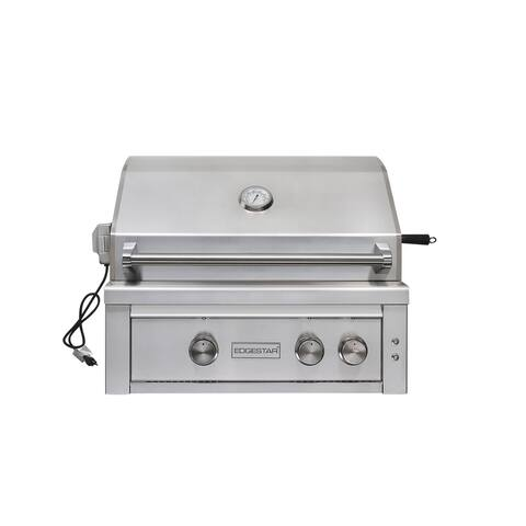 "EdgeStar GRL300IBNG 60000 BTU 30"" Wide Natural Gas Built-In Grill with Rotisserie and LED Lighting -"