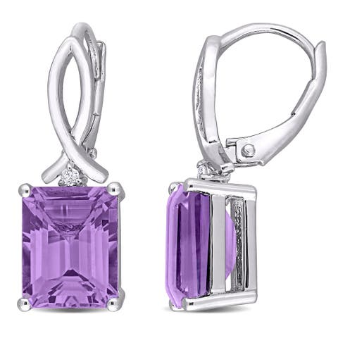 Miadora Sterling Silver Octagon-cut Amethyst and White Topaz Drop Leverback Earrings - 24.7 mm x 8 mm x 10 mm